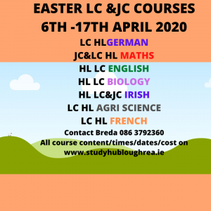 Study Hub Loughrea - Easter 2020 Revision Courses